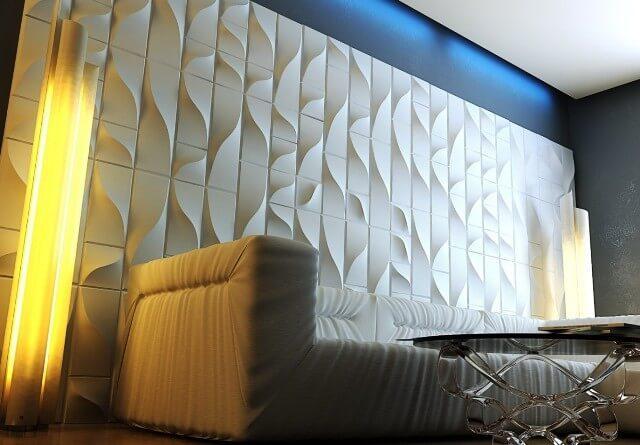 Белые панели на стену из гипса с произвольным рисунком