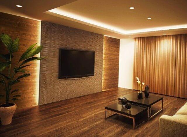оформление ТВ зоны с помощью гипсовых панелей