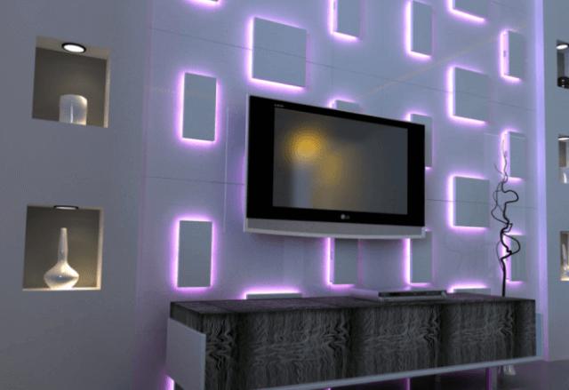 Фото панелей 3d с подсветкой в интерьере гостиной