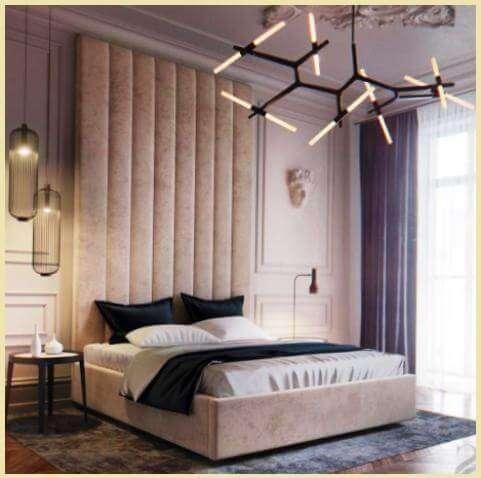 Фото: высокая панель в спальне за кроватью в мягком исполнением - полоски   my-floor.in.ua