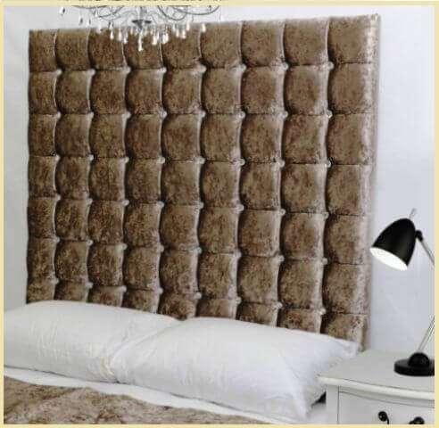 Фото: Большая тканевая панель с мягким наполнением в спальне над кроватью   my-floor.in.ua