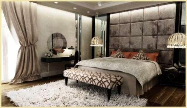 Фото: Отделка мягкими панелями и зеркалами прикроватной зоны в спальне   my-floor.in.ua