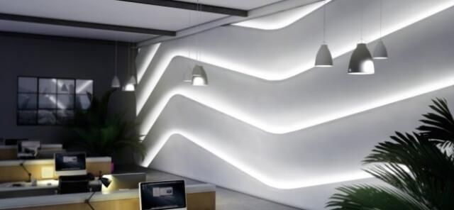Подсветка панелей на стенах с помощью ЛЕД светильников