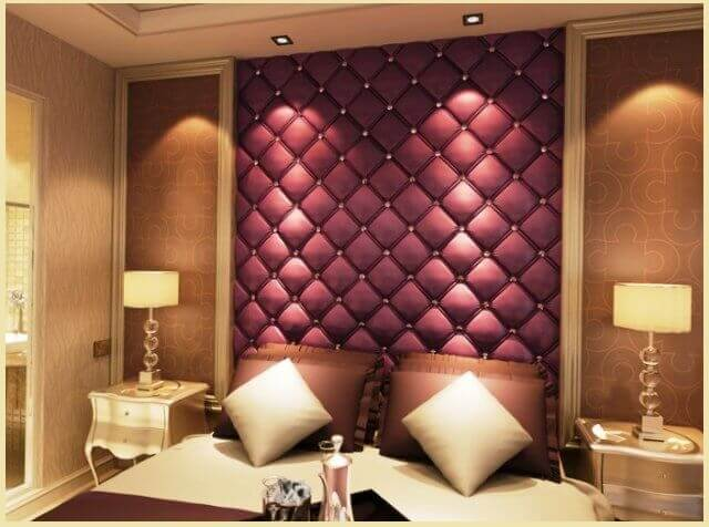 испотзование мягких стеновых панелей из ткани в спальне